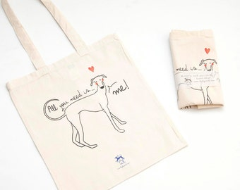 All Greyhound tote bag you need is... ME!, Greyhound, Totebag Greyhound bag bag Greyhound illustration, article about dogs