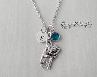 Chameleon Necklace - Reversible Chameleon Charm - Personalized Initial and Birthstone - Antique Silver Pewter Jewelry