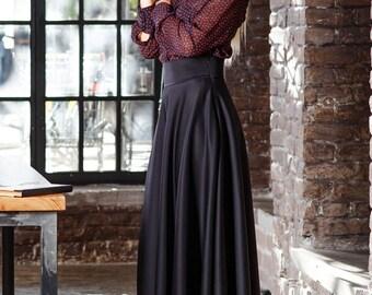 Black maxi skirt-Long skirt-Classic skirt-Winter skirt