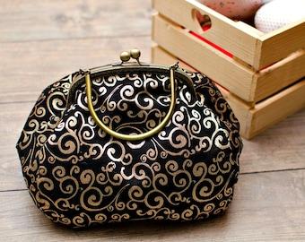 Gold and black evening bag Kisslock purse Bronze frame bag