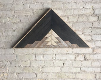 "Reclaimed Wood Wall Art, Decor, Lath, Pattern, Triangle, Mountain, Black, Landscape, 33"" x 17"""