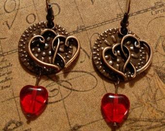 Burnt Copper Heart Earrings with Czech Red Crystal Heart, Dangle Drop