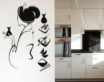 Wall Decal Vinyl Sticker Decals Geisha Girl Manga Oriental Girl Japan Japanese Home Decor Art Bedroom Design Interior NS363