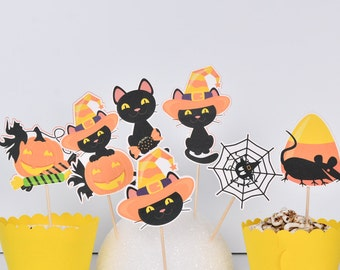 14 Halloween Cake Toppers, Halloween Party Decoration, Halloween Cat Decoration, Halloween Cupcakes, Halloween Centerpiece Birthday