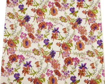 """Floral Printed White Fabric, Dress Making Fabric, Home Accessories, Craft Fabric, 42"""" Inch Cotton Fabric By The Yard ZBC1047"""