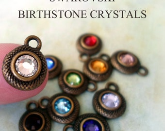 Add On Birthstone in Vintage Bronze, Add A Swarovski Crystal Birthstone Pendant, To Any Item In Our Shop, Make it Special-Customize