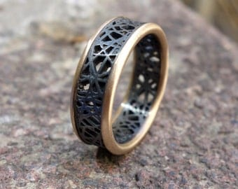 Unique Wedding Ring Oxidized Silver & Gold Ring Mixed Metal Men's Wedding Band Handmade Black Silver Ring Promise Ring Sterling Silver Ring