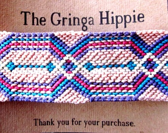 Handmade Multicolored Hexagonal Pattern Woven Friendship Bracelet