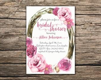Floral Bridal Shower Invitation Printable Boho Bridal Shower Invite Pink roses bridal invite Spring Bridal Party Summer Bridal Shower Invite
