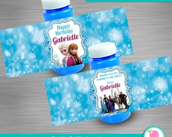 Frozen Bubble Bottle Wrapper Label Personalized DIY