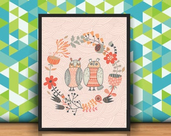 Owl printable, owls print, owl print art, room decor