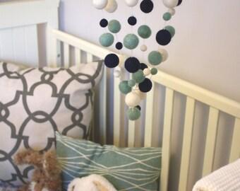Crib Nursery Mobile - Crashing Sea - Nautical Mobile - Wooden Swing - Boy Nursery Decor, Beach Decor, Nautical Nursery, Baby Shower Gift