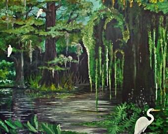 Morning Egrets (Print of Original Painting - Somerset Velvet Giclee)