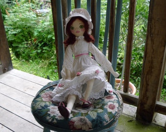 Amelia - a beautiful handmade cloth doll, a modern heirloom, gift for a girl