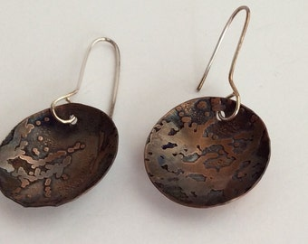 Copper Jewelry - Hammered Earrings - Copper Earrings - Textured Copper Earrings - Dangle Earrings - Earrings - Birthday - Free Ship - Sale