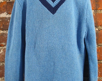 1960's Boys Blue and Navy Mock Turtleneck Sweater