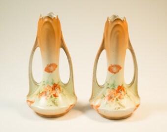 Two vintage handpainted 40s vases