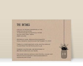 rustic wedding information card enclosure cards wedding details card printabletemplates