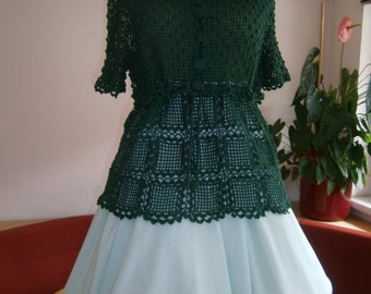 crotcheted green tunic