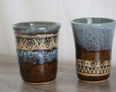 Hand Decorated Cup: Set of Two