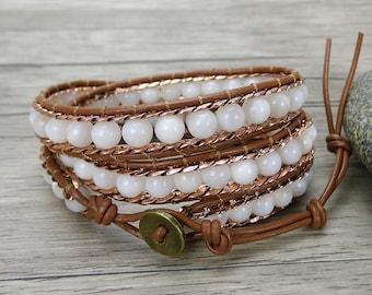 3 wraps bracelet White shell bead bracelet Boho wrap bracelet chain leather bracelet Leather wrap bracelet gypsy braided bracelet SL-0353
