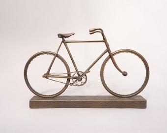 Bronze bicycle model - handmade scale model of vintage bike, limited edition UK