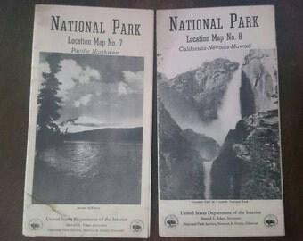 Vintage National Park Maps, Pacific Northwest, California-Nevada-Hawaii, 1944 Maps