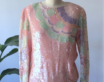 Oleg Cassini Vintage Pastel Sequin Top