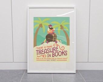 Treasure in Books - Walt Disney Quote Illustrated Classroom Reading Poster