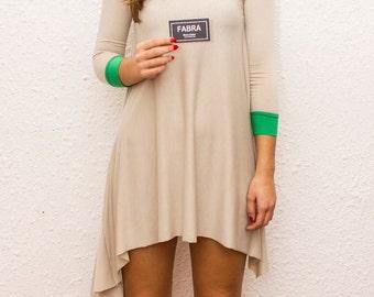 Asymmetrical Long Sleeve Tunic / Nude Long Sleeve Tunic / Casual Blouse by FabraModaStudio / B307