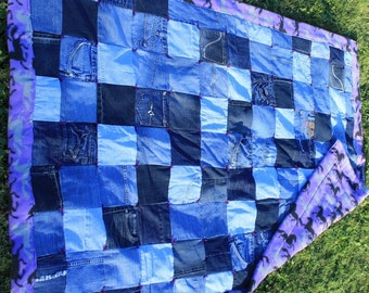 Recycled Jean Twin Quilt with horse theme
