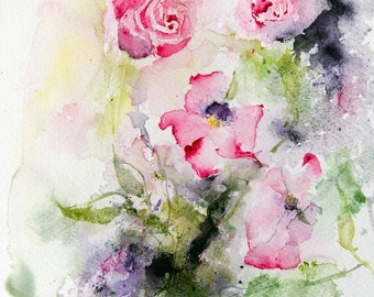 Original watercolor of pink roses, Original painting, Original Watercolour, Watercolor,flowers, gift for her - wall decor - gift idea