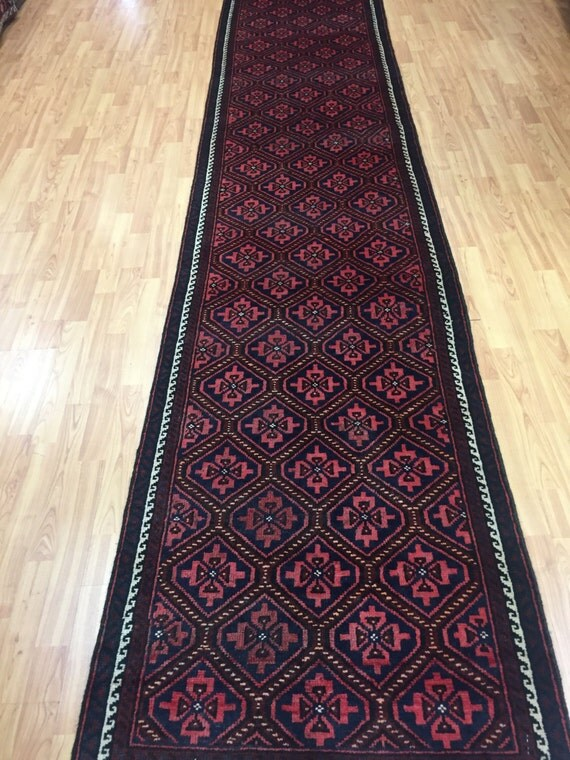 "2'6"" x 13'9"" Persian Josheghan Floor Runner Oriental Rug - 1960s - Hand Made - 100% Wool"