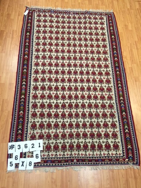 """5'6"""" x 8'6"""" Persian Kilim Saneh Oriental Rug - Hand Made - Two Sided - Vintage - 1980s"""
