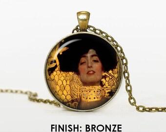 Judith by Gustav Klimt Necklace, klimt Jewelry, art gift for women handmade, silver bronze black, art Pendant chain jewelley, gold 024