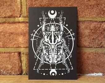 Geometric Beetle Screen Print (4x6)