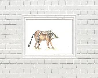 Jungle Theme Art, Jungle Prints, Watercolour Lemur Art, Nursery Jungle Art, Mom and Baby Art, Babywearing Lemur