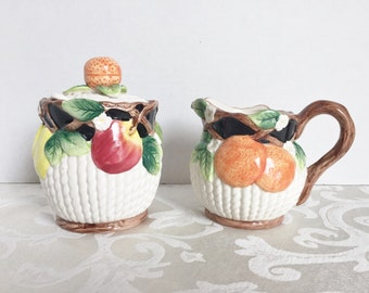 Fitz & Floyd Sugar Bowl with Lid Top and Creamer Set  Fruit Design Dated 1992  1990's Kitchen Decor Vintage Dining Table Decor