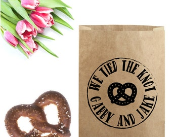 Pretzel Wedding Favor Bag - We Tied The Knot Stamp - Wedding Pretzel Bag - Brown Paper Bag Stamp - Pretzel Wedding Favor - Wedding Stamp