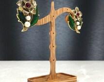 Flower Earrings, Avon Earrings, Avon Christmas, Vintage Avon Earring, Red Avon Earring, Flower Avon Earrings ,Christmas Avon, Holiday Avon