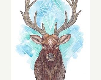 Original Elk Art - Colorful Spirit Animal Elk Painting - Watercolor and Pen Illustration - 8x10