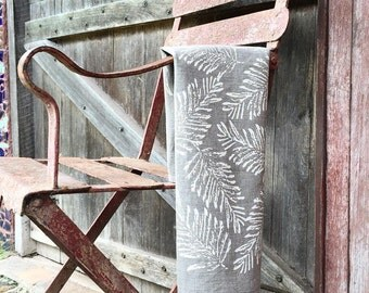 Fern Linen Tea Towel Screen Printed, Handmade in Australia- sustainable fabrics