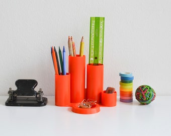 Vintage neon desk tidy, desk organizer, desk cadyy, neon desk accessory, pen holder, pencil holder