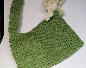Crocheted Green Tote Bag, Over-the -Shoulder