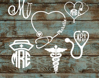 Nurse Monograms  // Nurse decals // monogram decals // monogram nurse decals