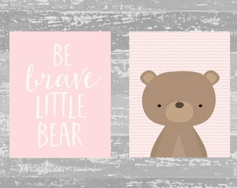 Pink Nursery Printable Wall Art, Be Brave Little Bear set of 2 printables Woodland Bear art, Baby girl Nursery decor pink Animal Nursery art
