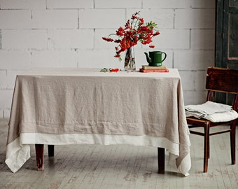 Linen Tablecloth With Double Edge. Stone Washed Linen. Custom Table Linens.  Large Tablecloth