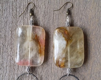 Blush Pink Marbled Earrings