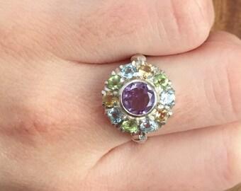 Amethyst Ring, Genuine Amethyst, Birthstone Ring, Vintage Rings, February Birthstone, Genuine Topaz