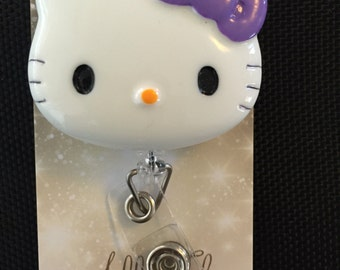 Hello Kitty inspired (purple bow) retractable ID badge holder/reel
